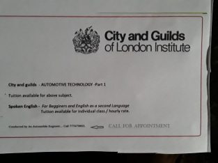 Tuition in spoken English and Automotive Technolog