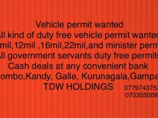 Vehicle permit wanted