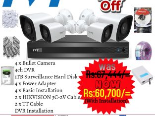 TVT 4CH/2MP/HD/1080P/HOME/OFFICE CCTV PACKAGE
