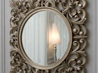 mirror with wood carving