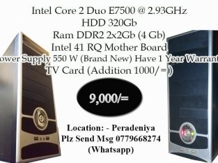 Intel Core 2 Duo (Used Computer) System Only.