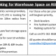 We are looking for Warehouse Space on RENT / LEASE
